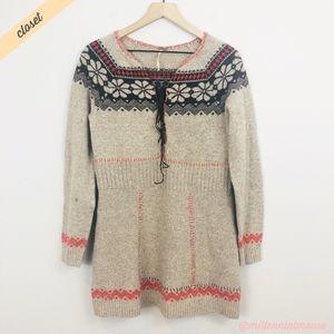 [Free People] Tan Fairisle V-Neck Tunic Sweater